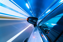 Speedy Car Driving In Tunnel.