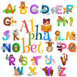 animals alphabet set for kids abc education in preschool.