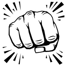 Punching Fist Hand Vector Illu...