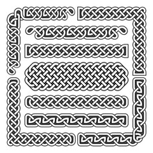 Celtic Knots Vector Medieval Seamless Borders, Patterns, And Ornament Corners. Pattern Brushes Set
