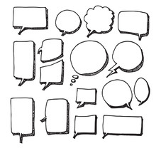 Vector Of Hand Drawn Doodle Style Speech Bubbles Eps10
