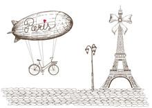 Vintage Illustration Of Paris