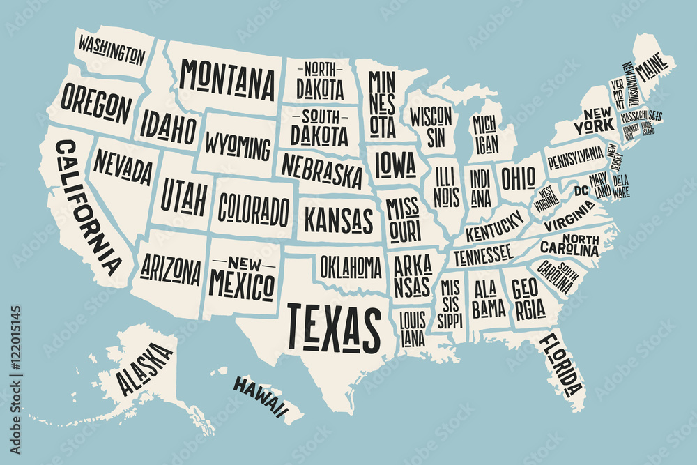 Fototapeta Poster map of United States of America with state names. Print map of USA for t-shirt, poster or geographic themes. Hand-drawn colorful map with states. Vector Illustration