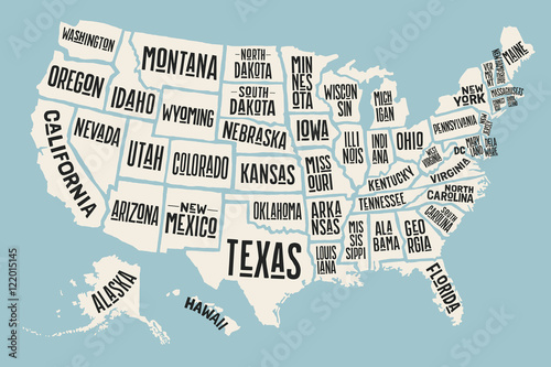 Fototapeta Poster map of United States of America with state names. Print map of USA for t-shirt, poster or geographic themes. Hand-drawn colorful map with states. Vector Illustration obraz