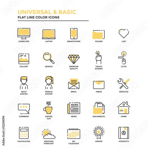 Photo  Flat Line Icons- Universal and Basic