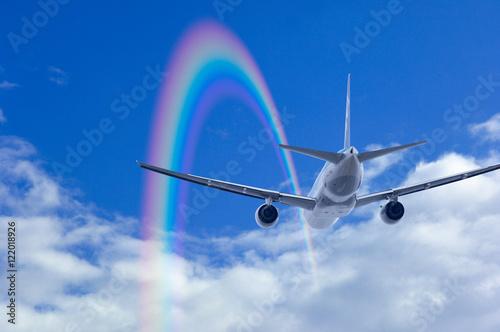 Fotografie, Obraz  虹と飛行機