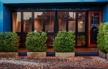 Front Of Restaurant And Garden