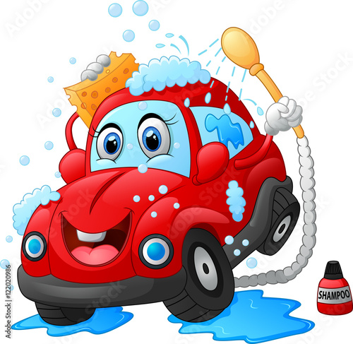 Keuken foto achterwand Cartoon cars Cartoon car wash character
