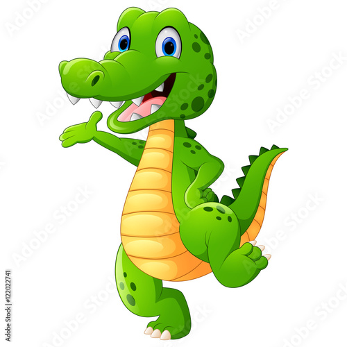 Funny Crocodile Standing And Posing While Hand Waving Buy This
