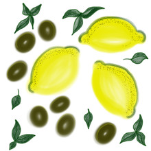Colorful Lemons And Olives With Leaves Drawn By Acrylic Paint, Watercolor And Pencil