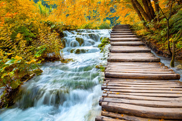 FototapetaScenic waterfalls and wooden path -  Fall season