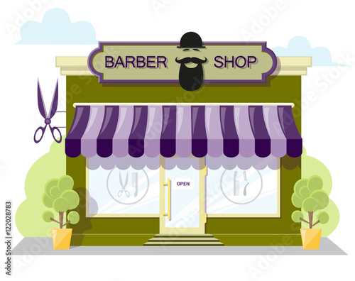 Facade barbershop  Signboard with emblem, awning and symbol in