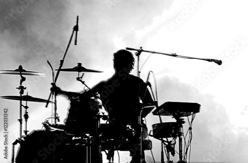 Tablou Canvas Drummer in silhouette