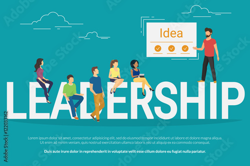Project Leadership Concept Illustration Of Team Leader Showing To His Colleagues A New Idea Business People Sitting On The Letters Leadership Flat Design For Website Banner And Landing Page Buy This