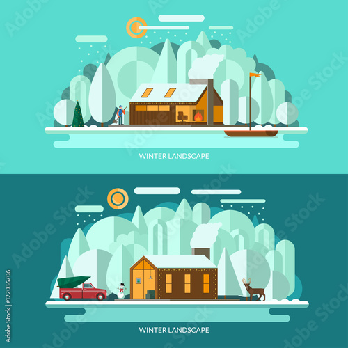 Wall Murals Green coral Winter landscape vector illustrations set. Modern private house, winter forest, lake shore with the sailboat, christmas tree, snowman, deer, snowy weather. Flat design