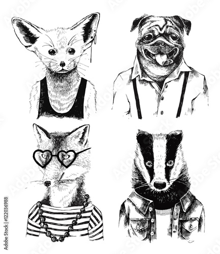 Hand drawn dressed up badger in hipster style