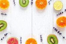 Colorful Mock-up Made Of Fruits On White Wood