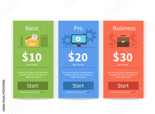 pricing table template buy this stock vector and explore similar