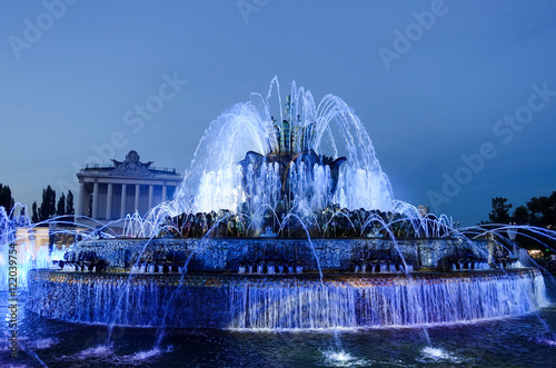 Autocollant pour porte Fontaine Fountain in the park at night
