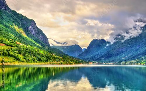 Poster Scandinavie View of Nordfjorden fjord near Loen - Norway
