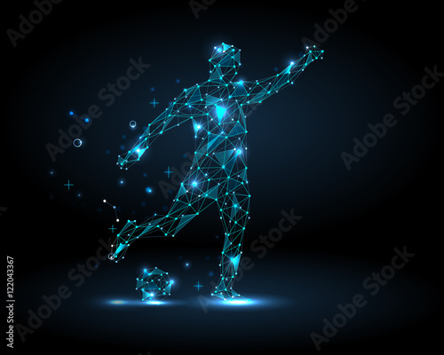 Fotografie, Tablou  Abstract football player, kick a ball