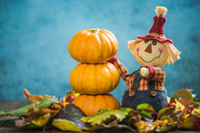 Funny Scarecrow Farmer Show Fall Produce Crop