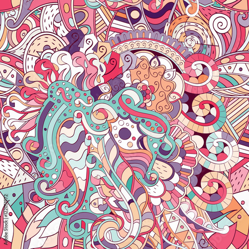 Keuken foto achterwand Vlinders in Grunge Tracery seamless calming pattern. Mehndi design. Ethnic colorful doodle texture. Curved doodling background. Vector.