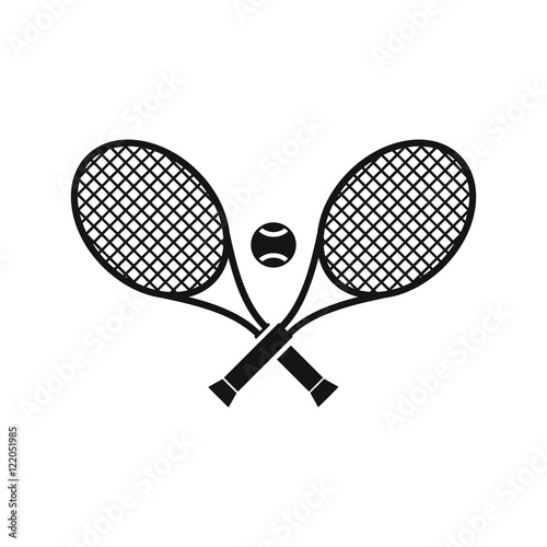 Photo Crossed tennis rackets and ball icon in simple style on a white background vecto