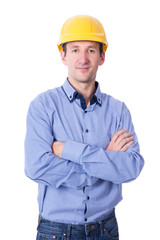 portrait of middle aged handsome business man in yellow builder'