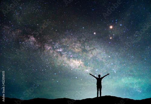 Fotografia, Obraz Landscape with Milky way galaxy
