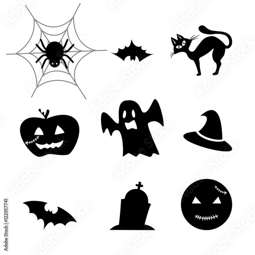 Happy Halloween Icons With Pumpkin Bat Cat Grave Cross Witch Hat