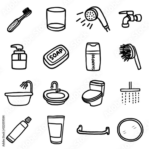 Bathroom Objects Or Icons Set Cartoon Vector And Illustration Hand