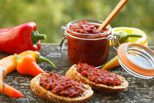 Valokuva  Ajvar - delicious dish of roasted red peppers