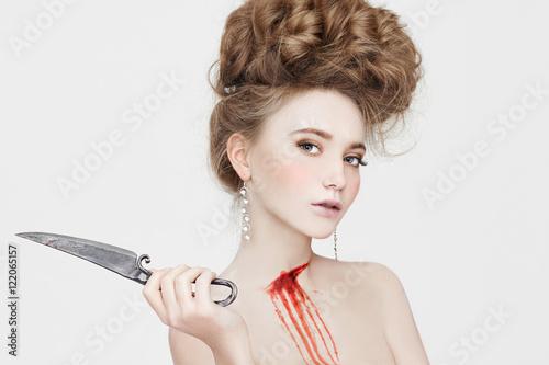 Fotografia, Obraz  Halloween woman kills knife