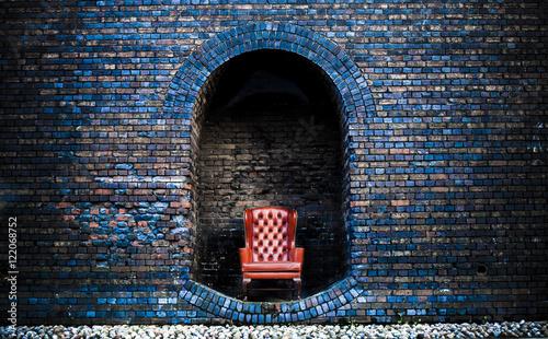 Foto op Plexiglas Wand Chair In Between Arch Made Inside Wall