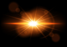 Golden Glowing Light Effect. Lens Flare. Sun Flash With Rays. Vector Illustration