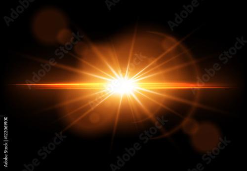 Obraz Golden glowing light effect. Lens Flare. Sun flash with rays. Vector illustration - fototapety do salonu