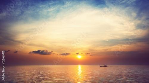 Staande foto Zee zonsondergang Scenic View Of Sea Against Sky At Sunset