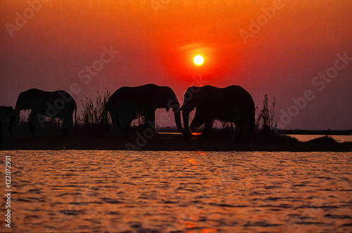 Photo Stands Cappuccino Oil painting of Elephants at sunset