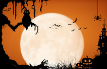 Halloween Night Background Wit...