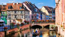 "Beautiful Romantic City Colmar, Part With Canals ""Little Venice"" , Alsace Region, France"
