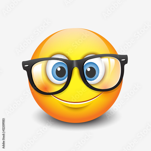Cute smiling emoticon wearing eyeglasses, emoji, smiley Poster
