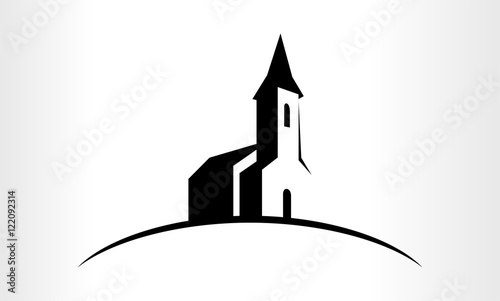 Canvastavla Vector logo Illustration of a Church
