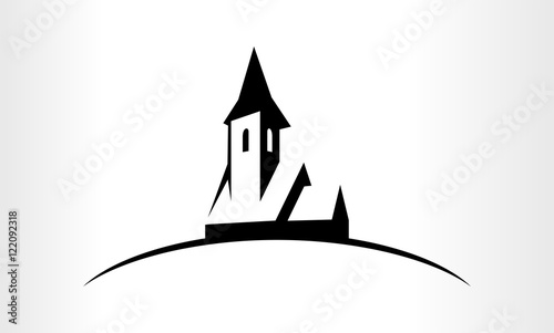 Cuadros en Lienzo Vector logo Illustration of a Church