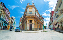Detail Of Center Havana Street And Typical Architecture