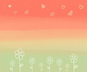 FototapetaFlower and heart on pastel background watercolor illustration
