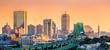 canvas print picture Tobin bridge, Zakim bridge and Boston skyline panorama at sunset.