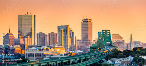 Fototapeta Tobin bridge, Zakim bridge and Boston skyline panorama at sunset. obraz