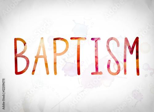 Fotografia, Obraz Baptism Concept Watercolor Word Art