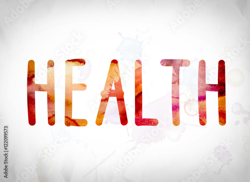 Health Concept Watercolor Word Art - Buy this stock illustration and
